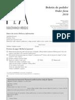 Boletín de Pedido y Tarifas 2010 / Order Form & Price List 2010