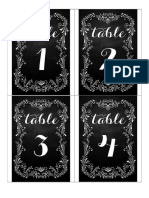 Table Numbers B&W