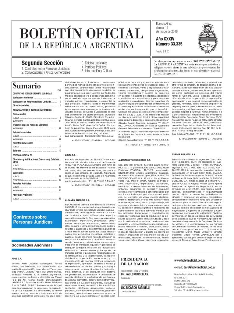 Boletín Oficial - 2016-03-11 - 2º Sección