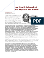 How Spiritual Health is Impaired by Neglect of Physical and Mental Health