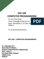 Ent 189 C programming
