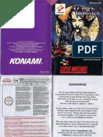 Castlevania Vampires Kiss Manual SNES