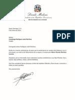 Carta de Condolencias del Presidente Danilo Medina a Covadonga Rodríguez viuda Martínez por Fallecimiento de su Esposo, Héctor Ricardo Martínez Carreira