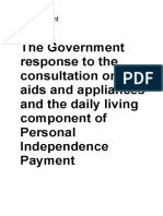 Government Response Aids and Appliances and the Daily Living Component of Pip