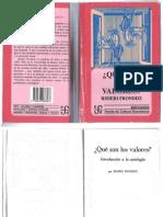 Que Son Los Valores, Risieri Frondizi, 2 Reimpresion en Chile 1995