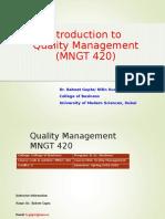 0. Quality Management Introduction