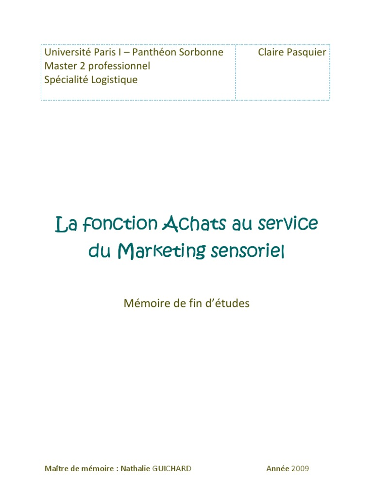 Bien-aimé Mémoire Claire Pasquier - La fonction Achats au service du  MR77