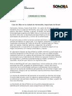 09/03/16 Caso de Zika en la ciudad de Hermosillo, importado de Brasil -C.031657