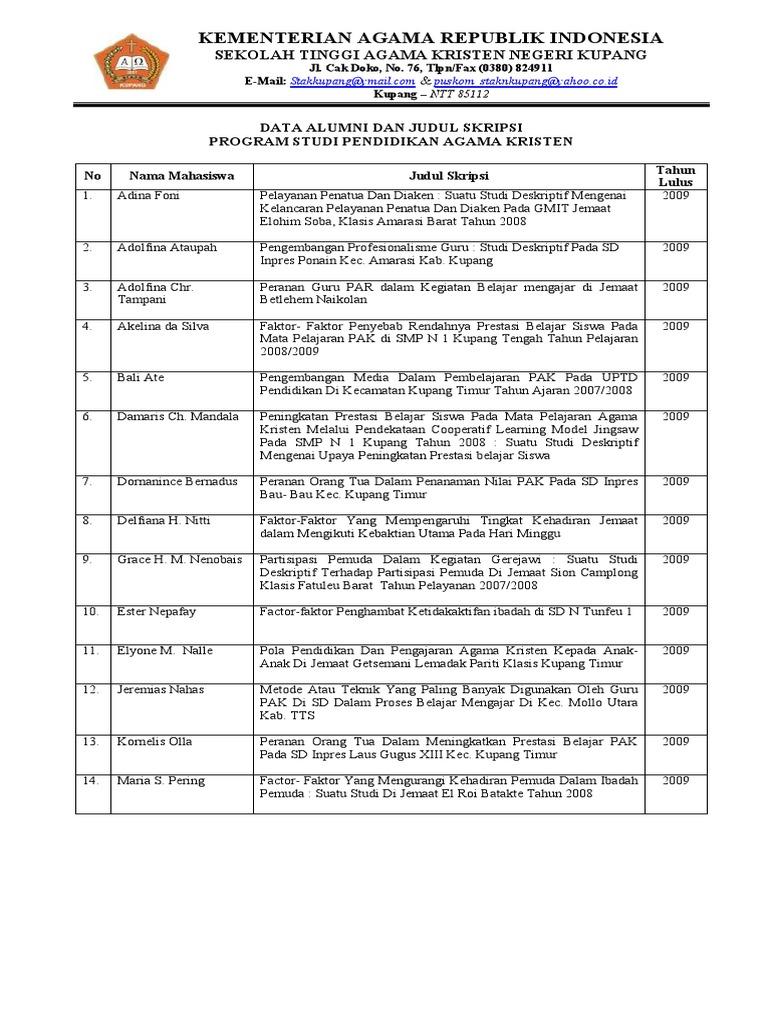 Judul Skripsi Alumni S1 Pendidikan Agama Kristen Stakn Kupang 2009 2014