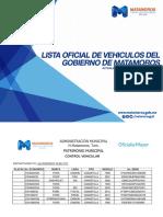 Lista de Vehiculos Oficiales del Gobierno Municipal de Matamoros.