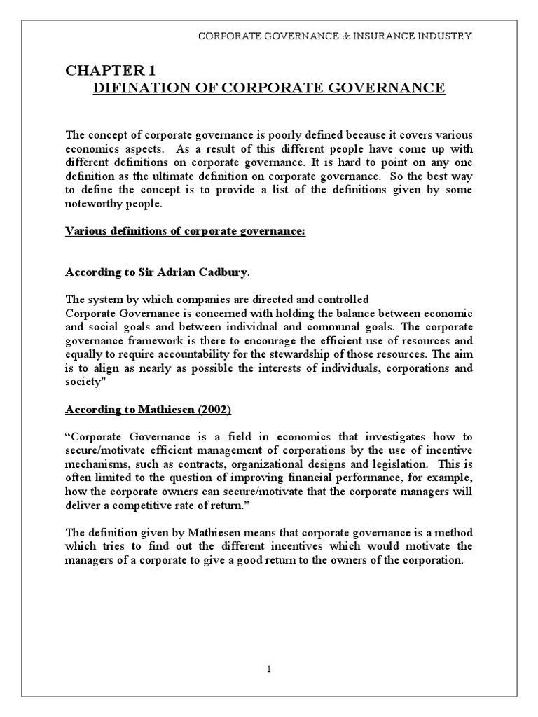 corporate governance & insurance industry. | corporate governance