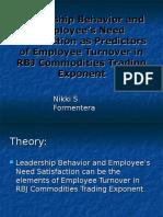 Leadership Behavior and Employee's Need Satisfaction as Predictors