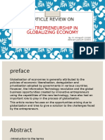 Article Review on Entrepreneurship in Globalizing Economy