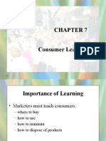 Consumer and Buyer Behavior Chapter 7 (Consumer Learning)