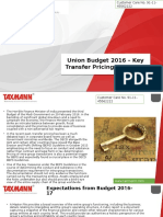 Union Budget 2016 Key Transfer Pricing Proposals