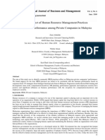 The Effect of Human Resource Management Practices on Business Performance among Private Companies in Malaysia