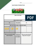 games student feedback form