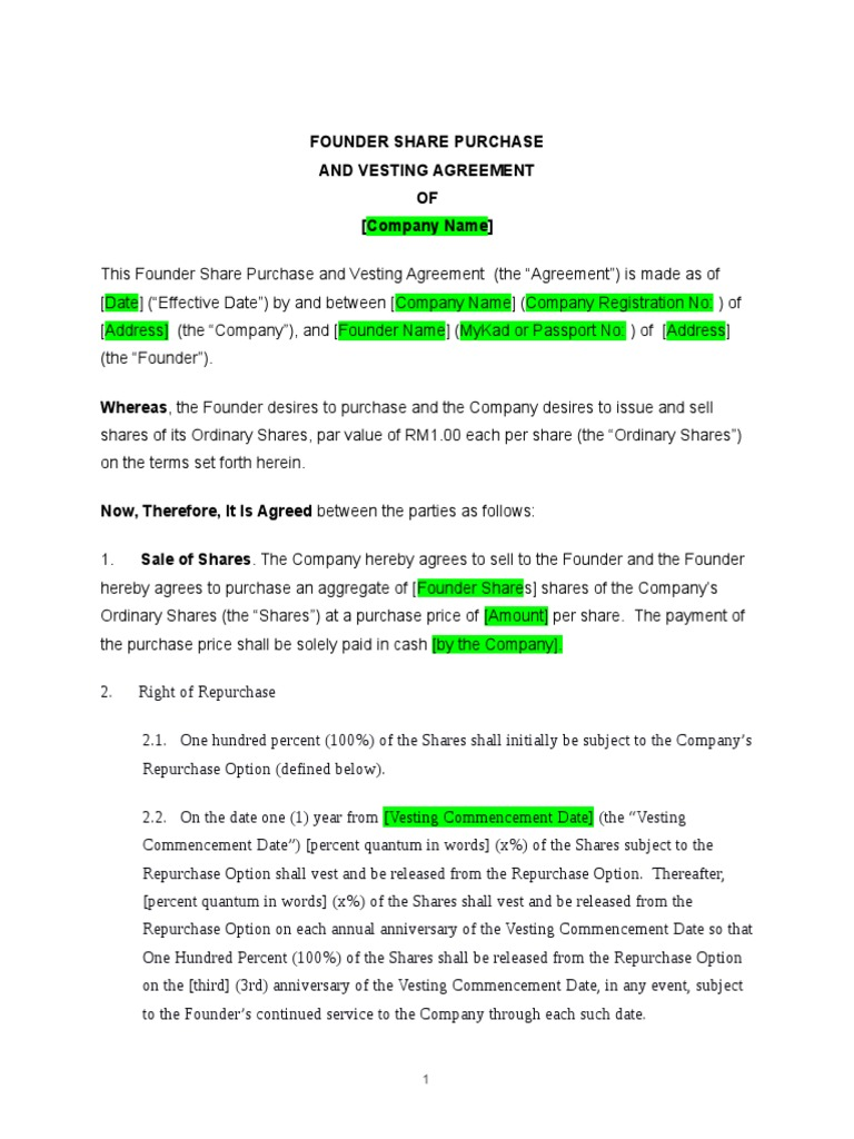 Founders Agreement Template With Vesting Docracy Mandegarfo