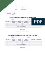 Citire Apometre Formular