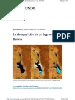 Desaparición Lagos en Bolivia