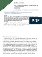 Relación Entre Ciencias Sociales