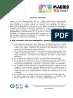 Politica Editorial Alcaldía Madrid