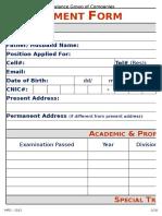 Dawlance Employment Form - 2015 (1)