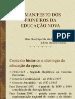 MANIFESTO DOS PIONEIROS DA EDUCAÇÃO NOVA