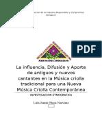 La Influencia, Difusión y Aporte de Antiguos y Nuevos Cantantes en La Música Criolla Tradicional Para Una Nueva Música Criolla Contemporánea