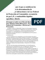ACUERDO Por El Que Se Establecen Los Criterios Para La Determinación de Sanciones Por Infracciones a La Ley Federal de Protección Al Consumidor