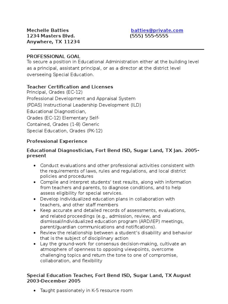 Online Professional Resume Individualized Education Program