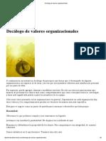 Decalogo de Valores Organizacionales