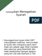 Kewajiban Menegakkan Syariah