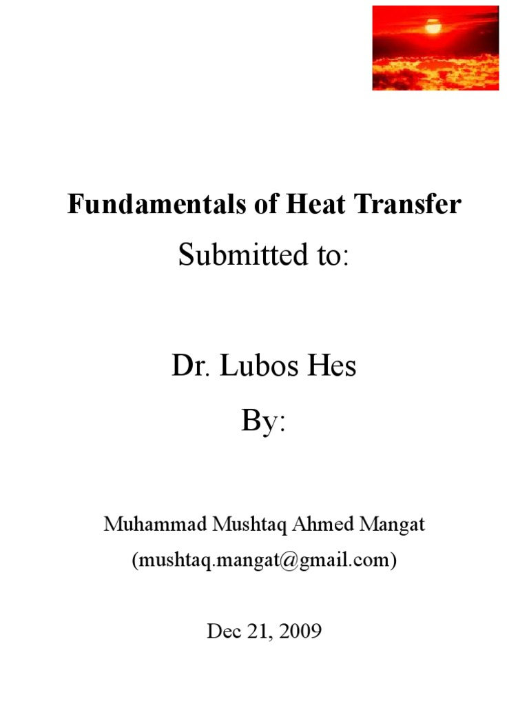Fundamentals of Heat and Mass Transfer | Heat Transfer | Thermal Conduction