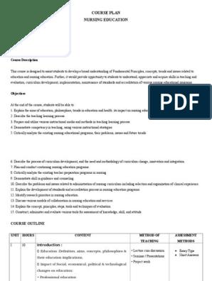 Course Plan I Year   Nursing   Test (Assessment)