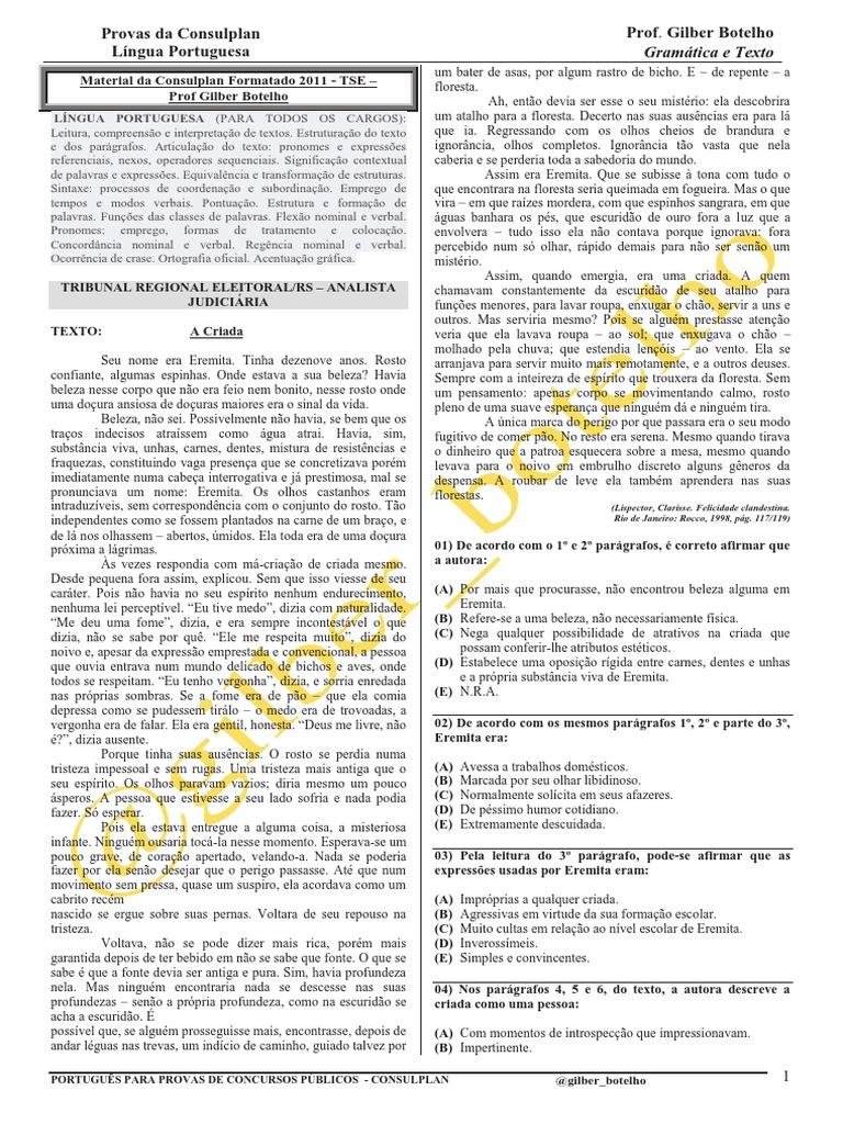 Material Da Consulplan Formatado 2011 Tse Prof Gilber Botelho  -> Parede Grafiada Sala