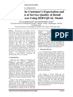 A Study on the Customer's Expectation and Perception of Service Quality of Retail Grocery Stores Using SERVQUAL Model