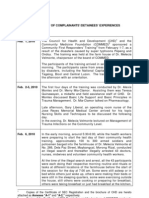 Morong43 Final Chronology of Experiences of Complainant Detainees