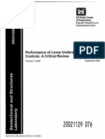Performance of Levee Underseepage Controls