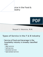 4. Types of Service in the F & B Industry