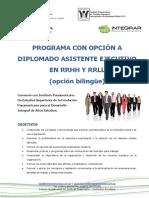 Programa Con Opción a Diplomado Asistente Ejecutivo en RRHH y RRLL PT