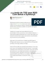 Mudando de TDD Para BDD Com Behat e Symfony2