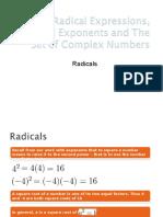 Radicals Exps, Rational Exponents, Set of Complex Nos