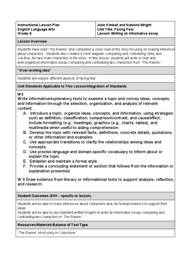 writing informative essay lesson plan Grades 3-5 informative/expository writing strand: writing lesson 1 choose a few well-written and interesting nonfiction magazine articles to read to the.