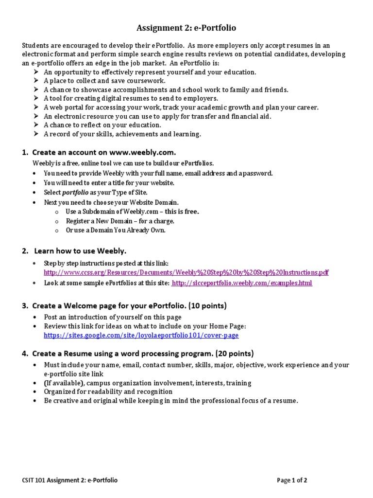 Descargar PDF Assignment 2 E-portfolio | Résumé | Domain Name