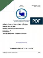 S1 - Introduction à l'économie - Révision Générale