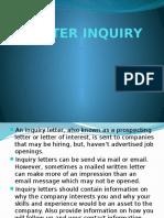 Letter Inquiry