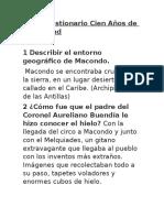 Cuestionario Cien Años de Soledad.