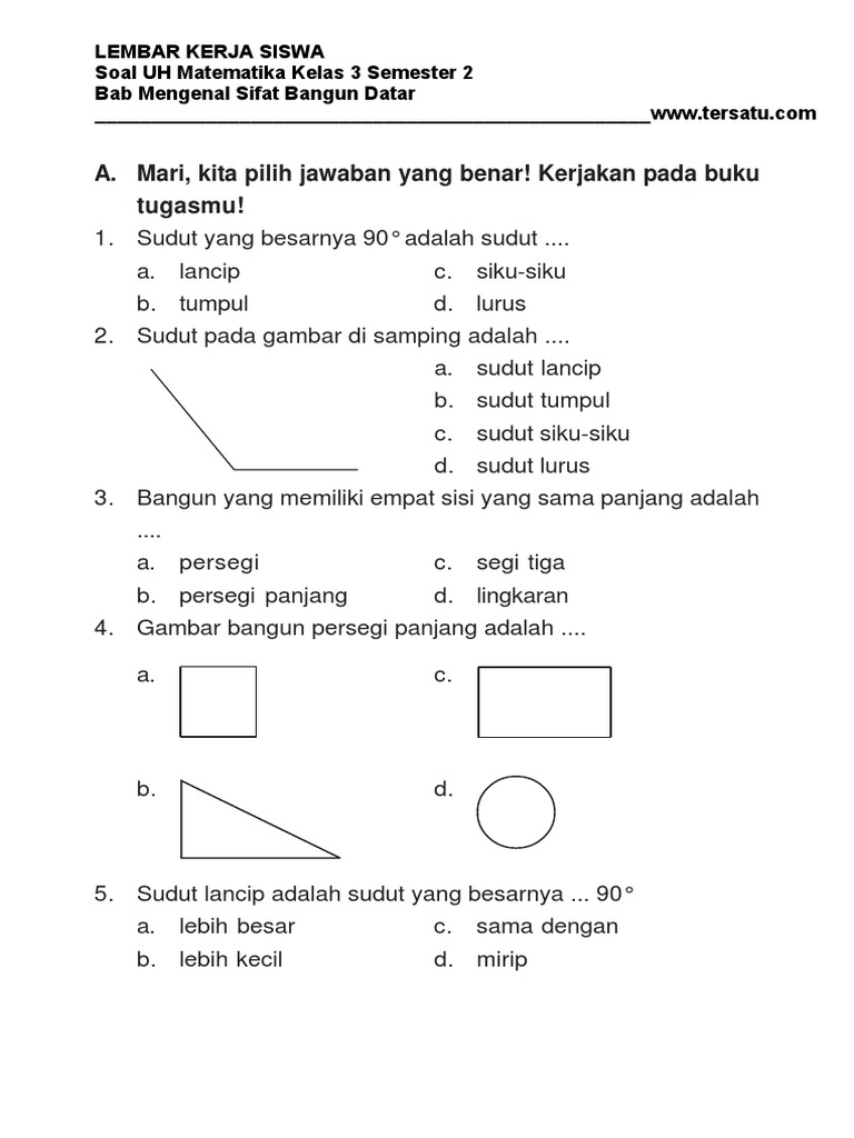 Soal Uh Matematika Kelas 3 Bab Mengenal Sifat Bangun Datar Semester 2