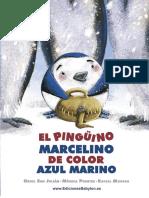El pingüino Marcelino de color azul marino, primeras páginas